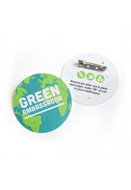 """Ecosave Double-Sided 2"""" Circle Seed Paper Button Badges 100% Plant"""